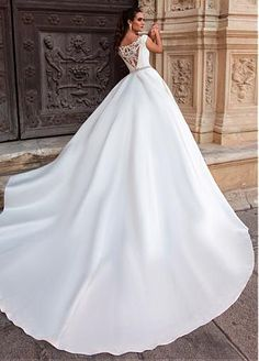 Chic Tulle & Satin Off-the-shoulder Neckline A-Line Wedding Dresses With Embroidery & Beadings