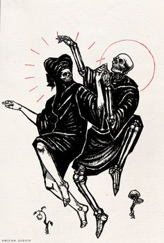 The Danse Macabre. Like my art? Support it here! Macabre Art, Danse Macabre, Drawing S, Art Drawings, Death Tattoo, Medieval, Dance Of Death, Satanic Art, Skeleton Art