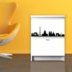 2-drawer furniture sticker for Ikea Malm Design skyline Paris via Etsy