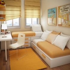 Space Saving for Kids Small Bedroom Design Ideas By Sergi Mengot Two Beds in Very Small Kids Bedroom Design Ideas By Sergi Mengot – Home Designs and Pictures Design Living Room, Kids Room Design, Living Rooms, Small Apartments, Small Spaces, Yellow Kids Rooms, Very Small Bedroom, Narrow Bedroom, Beds For Small Rooms
