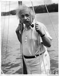Einstein smoking a pipe.