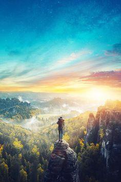 On top of the world by Stijn Dijkstra Fantasy Landscape, Landscape Art, Fantasy Art, Scenery Wallpaper, Nature Wallpaper, Landscape Pictures, Nature Pictures, Photos Voyages, Anime Scenery