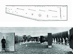 Planta expográfica e conjunto da exposição 'Bahia' realizada no antigo 'Pavilhão Bahia' sob a marquise do Parque do Ibirapuera em São Paulo, 1959
