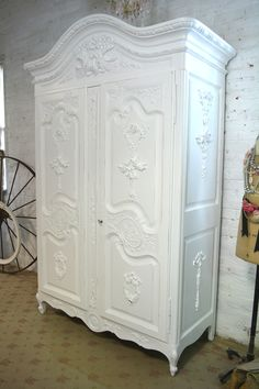 Painted Cottage Chic Shabby French Romantic Armoire/ Wardrobe/ C