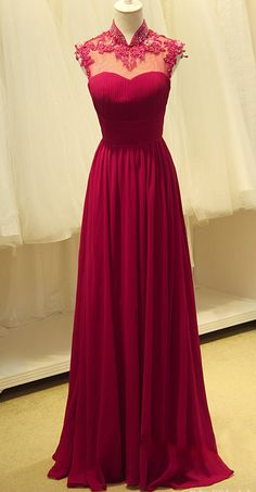 Elegant Ruby Chiffon High Neck Long Evening Dresses Sheer Top Beading Appliques 2015 Ruched Formal Prom Gowns