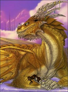 This dragon has a sleeping friend on his arm. Imagine if we had pet dragons? Magical Creatures, Fantasy Creatures, Fantasy World, Fantasy Art, Dragon Vert, Dragons, Dragon Artwork, Dragon's Lair, Gold Dragon