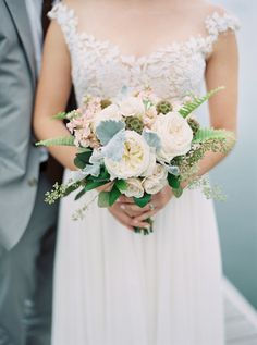 White Garden Rose Bouquet bouquet composed of pink peonies, lavender peonies, pink garden