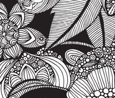 Rachel - black and white fabric by valentinaharper on Spoonflower - custom fabric