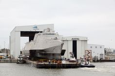USS Gabrielle Giffords (LCS 10) rolls out of Austal USA's facility, February 25, 2015. Photo: Austal USA.
