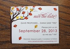 Red & Yellow Love Birds in a Fall Tree Wedding Save the Date Cards