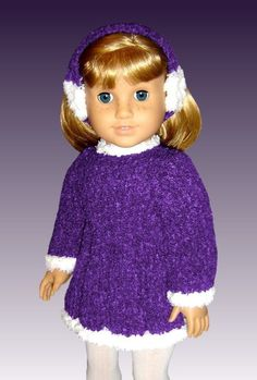 Fits American Girl Doll and 18 inch doll. Skating Dress 013 - product images of Knitted Doll Patterns, Doll Dress Patterns, Knitted Dolls, Crochet Dolls, Knitting Patterns, Knitting Ideas, Knit Crochet, Crochet Patterns, Knitting Dolls Clothes