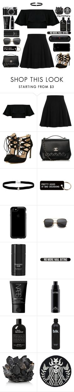 """""""06   pretty good at bad decisions"""" by takenwithpizza ❤ liked on Polyvore featuring River Island, Chanel, Amanda Rose Collection, Various Projects, Speck, Tom Ford, Bershka, NARS Cosmetics, MAC Cosmetics and philosophy"""