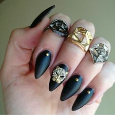 Fierce black matte nails by dear @Courtney Lyman featuring our small leopard charm  Now back in stock at DailyCharme.com