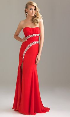 Strapless Evening Gown for Prom by Night Moves 6469