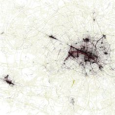 The Geotaggers& World Atlas is an interesting series of images by Eric Fischer that shows city maps overlaid with points indicating that a photograph was t Atlas Book, Paris Map, Architecture Drawings, Architecture Mapping, A Level Art, Abstract Drawings, City Maps, Urban Planning, Map Art