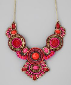 Pink & Red Beaded Bib Necklace.  Love the colours here!  Curleytop1.