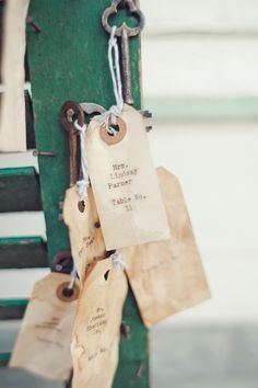 Vintage/tea-stained tags as seat assignments. Photography By / http://jnicholsphoto.com,Wedding Planning Coordination By / http://thesimplifiers.com