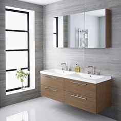 The modern large gray vanity with double sink will add smart contemporary style to any bathroom Contemporary Home Decor, Contemporary Bathrooms, Modern Bathroom, Small Bathroom, Modern Wall, Serene Bathroom, Vanity Bathroom, Luxury Bathrooms, Vanity Sink