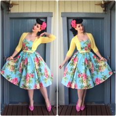 Bernie Dexter Dress, Pinup Girl Clothing Belt and Cardigan, BAIT Footwear Shoes and Sophisticated Lady Hair Flowers Rockabilly Fashion, 1950s Fashion, Vintage Fashion, Rockabilly Style, Rockabilly Girls, Rockabilly Dresses, Goth Girls, High Fashion, Fashion Tips