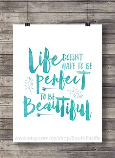 Quote print Life doesn't have to be perfect Printable art ink watercolor typography hand lettering Printable wall art art print navy - handlettering - Calligraphy Quotes Doodles, Brush Lettering Quotes, Doodle Quotes, Hand Lettering Quotes, Quote Typography, Instant Lettering, Lettering Ideas, Calligraphy Letters, Doodle Art