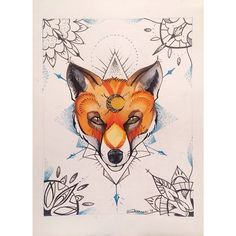 This fox is also available as tattoo :) #fox #foxtattoo #dotwork #colortattoo…