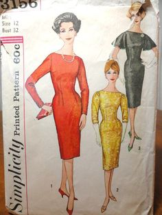 Items similar to Vintage Dress Pattern Simplicity Sheath Flared Sleeves Bust Figure Hugging on Etsy 60s Patterns, Vintage Dress Patterns, Clothing Patterns, Timeless Classic, Timeless Fashion, Vintage Fashion, Old Dresses, Vintage Dresses, Dress Me Up