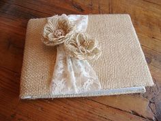 burlap guest book | Rustic Burlap and Lace Wedding Guest Book. | Tailored
