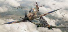 Supermarine Spitfire Mk1 Airfix box artwork by Adam Tooby - Spitfire Mk1 X4425 flown by Flt. Sgt. George Unwin