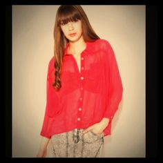Red chiffon button up NWOT. Perfect for Valentine's Day! Dres up or down! Fors size: small-medium Tops