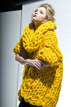 yellow chunky knit. man, that's a snuggly sweater!