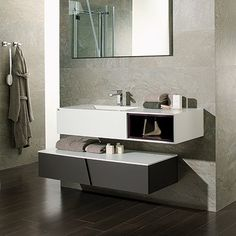 """Porcelanosa 38"""" Wind Vanity (Krion®) This is the type of vanity I was talking about when I mentioned two levels vanity."""