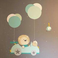 Panda Nursery, Nursery Art, Kids Wall Decor, Baby Decor, Baby Painting, Cartoon Stickers, Kids Wallpaper, Baby Cartoon, Baby Prints