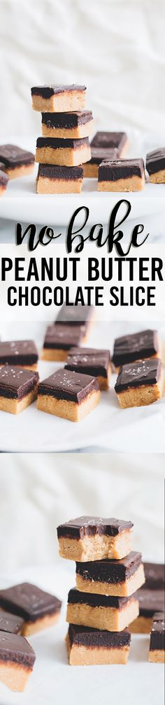 Delicious No Bake Peanut Butter Chocolate Slice. Vegan, Easy To Make and a sure hit with your guests. #vegan #dessert #peanutbutter #chocolate #simple #easy #veganrecipes