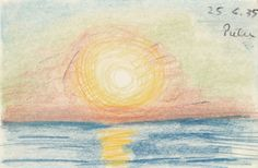 LYONEL FEININGER Sonnenuntergang über dem Meer, 1935 Sunset over the sea, Kreide auf Papier 5 1/2 × 8 1/5 in 13.9 × 20.9 cm