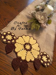 Crochet Table Runner, Crochet Tablecloth, Crochet Sunflower, Crochet Flowers, Crochet Crafts, Crochet Projects, Birthday Wishes For Son, Farmhouse Table Runners, Vintage Farmhouse
