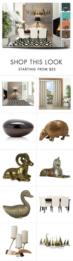 """""""Brass Accent pieces"""" by riri-thatsme ❤ liked on Polyvore featuring interior, interiors, interior design, home, home decor, interior decorating, White Label, Ginger Brown, Global Views and C. Jeré"""