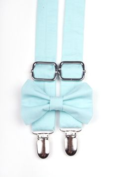 Tiffany Blue Bow Tie  Suspenders Set   for baby, toddler, little boy ring bearer Tiffany Blue themed wedding