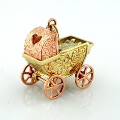 14K Gold Baby Inside Buggy Carriage Vintage Moveable Charm