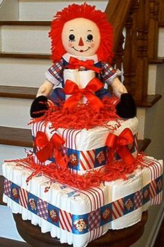 Square Raggedy Andy Diaper Cake. If only @Hillary Platt Bandley Johnson MacCready knew whether it was a boy or girl yet!