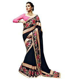 146934 Black and Grey color family Embroidered Saree in Georgette fabric with Machine Embroidery, Resham, Zari, Border, Lace work with matching unstitched blouse. Georgette Fabric, Georgette Sarees, Trendy Outfits, Fashion Outfits, Indian Look, Embroidery Saree, Blue Saree, Indian Gowns, Work Sarees