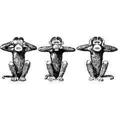 Three Wise Monkeys Clipart ❤ liked on Polyvore featuring fillers, drawings, animals, backgrounds, doodles, text, quotes, saying, scribble and phrase