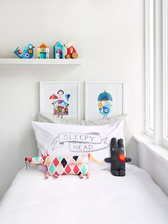 Love this pillow case! A white canvas really makes toys come to life in a child's room