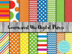 Rainbow Digital Paper Rainbow dots Stripes by MagicalStudio