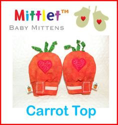 Carrot Top Mittlet Baby Mittens 3 to 12 months by CoffeeKidsNDolls