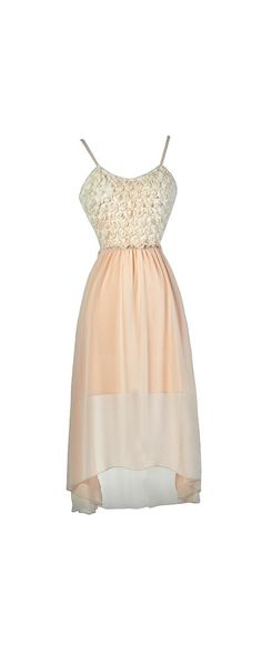 Moonlight and Rosettes Open Back High Low Dress in Blush  www.lilyboutique.com