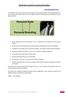 Wardrobe essential in personal branding -  by Liven Varghese