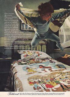 Vintage magazine ad featuring Fieldcrest 'Peter Pan' sheets