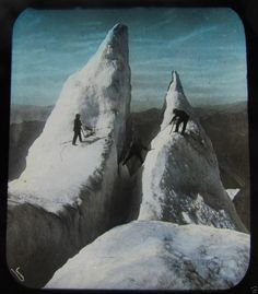 Glass Magic lantern Slide MONT BLANC ICE CLIMBERS C1900 SWITZERLAND L65