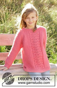 Ravelry: Clover pattern by DROPS design Free Aran Knitting Patterns, Lace Knitting, Knitting Designs, Knit Patterns, Knitting Tutorials, Drops Design, Knitting For Kids, Girls Sweaters, Pulls