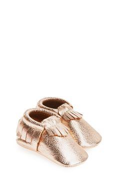 These rose gold metallic leather moccasins are too cute!